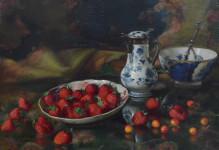 Stilleven met aardbeien en blauw/wit
