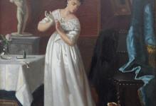 Dame in witte jurk, romantisch tafereel