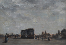 Stadsgezicht met tram