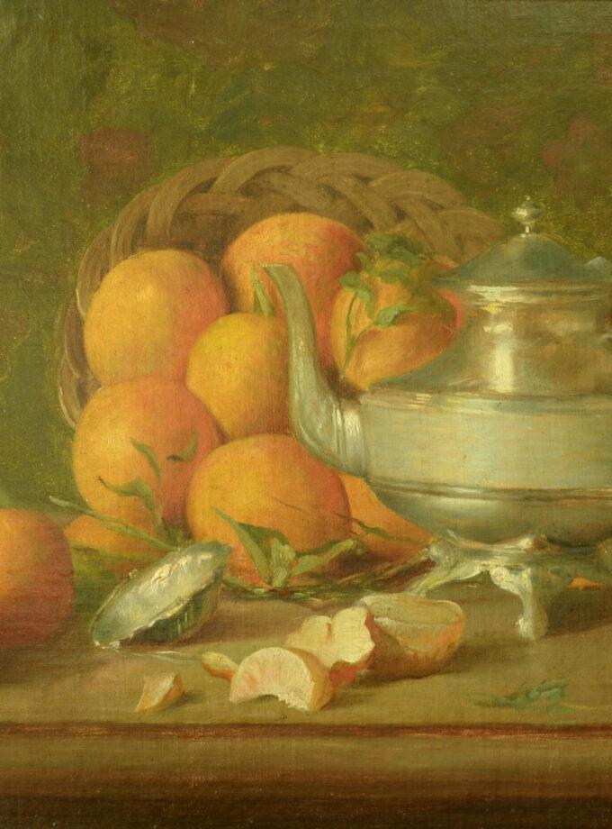 stilleven met sinaasappelen en theepot