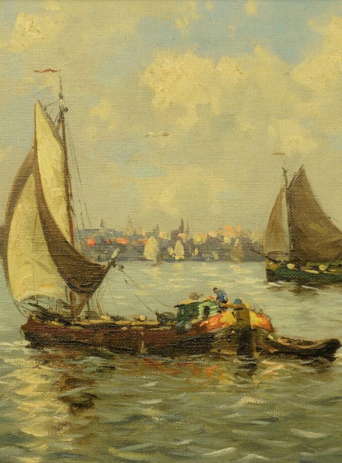 Delden, J. van (20ste eeuw); Zicht op het IJ, Amsterdam